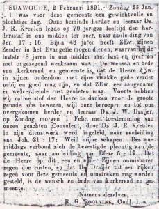 De Bazuin, 6 februari 1891. Ds. Draijer neemt het beroep naar Suawoude aan.