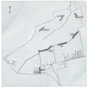 De ligging van de verschillende dorpen in de gemeente Marum