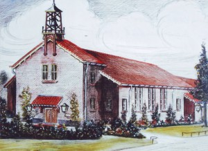 De pentekening die Jan Wilmink maakte van de Leusderkerk