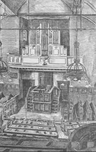 Vanaf de verbowuing van 1930 zag het interieur van de kerk er zo uit.