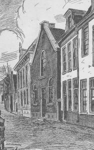 Het eerste kerkgebouw aan de Langegracht, zoals het omstreeks 1897 nog bestond