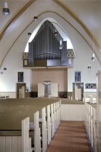 Het interieur van de kerk te Onderdendam.