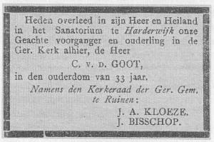 Overlijdensadvertentie van colpoirteur-bijbellezer C. van der Goot (1917)