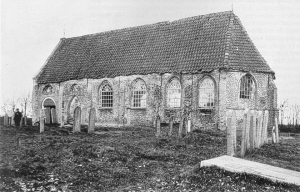 Het al lang geleden afgebroken hervormde kerkje in Oud-Appelscha.