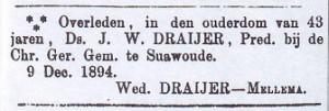 Mevr. Berendina Draijer-Mellema plaatste deze advertentie in 'De Bazuin'.