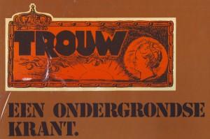 Een deel van de omslag van de  illegale Trouw-uitgaven in boekvorm over de jaren 1943-1945.