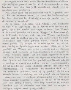 Een deel van de besprekingen der chr. geref. generale synode van 18 juli 1899.
