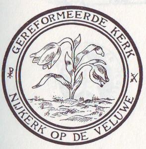 Het eerste kerkzegel van de Gereformeerde Kerk te Nijkerk (vermoedelijk ergens rond 1950 in gebruik genomen).