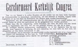 De aankondiging van het Gereformeerd Kerkelijk Congres te Amsterdam (De Heraut, 2 januari 1887).