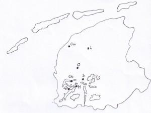 Kaart van Friesland. L = Leeuwarden; S = Sneek; H = Heeg; Om = Oosterbierum; G = Gaastmeer; Ou = Oudega-Idzega (Wymbritseradiel); O = Oosterend (Wymbr.)