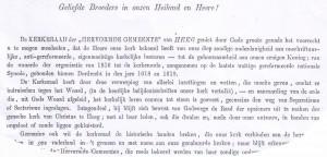 De aanhef van de brief van de Heeger kerkenraad, waarin men de andere dolerende kerken in het land meedeelde dat ook Heeg in Doleantie gegaan was.