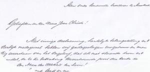 De aanhef van de brief van de Heeger kerkenraad aan de 'benauwde broederen'  te Amsterdam.