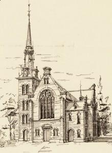 Bouwtekening van de dolerende gereformeerde kerk te Heeg.