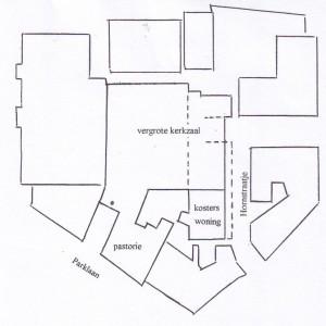 Plattegrond van de verbouwing van 1925. De binnen de onderbroken lijnen liggende ruimte bestond in de oude situatie uit kleine woninkjes. Deze werden bij de verbouwing bij de kerk getrokken. De toren boven de ingang aan de Parklaan werd weggehaald
