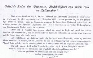 In hun brief van november 1887 aan de hervormde gemeenteleden in Oosterbierum deelden de kerkenraadsleden T. Nauta, P. van Keimpema, H. Bruisnam en J. Zijlstra mee in Doleantie te zijn gegaan.