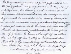 Ui8ty de notrulen van de hervormde kerkernraad van 23 februari 1888, dus na de Doleantie.