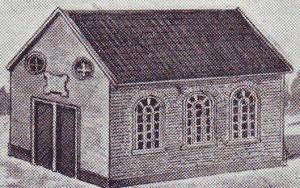 Het oudste gereformeerde kerkje van Schoonebeek, gebouwd in 1861 (foto: Honderd jaar gereformeerd kerkelijk leven in Schoonebeek).