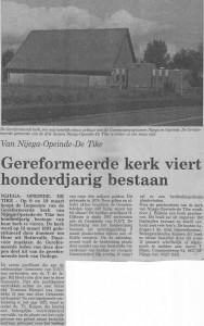In het Freisch Dagblad verscheen een artikel over het 100-jarig bestaan van de kerk, in 1991.