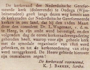 Het bericht van de instituering van de 'Nederuditsche Gerformeerde Kerk (doleerende)' te Oudega, in 'De Heraut' van 2 april 1888.