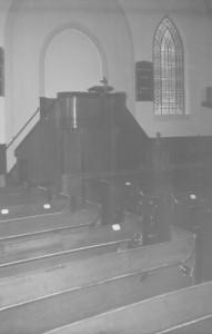 Het oude interieur van de gereformeerde kerk te Nieuwe Pekela (foto via de heer G. Kuiper, Appingedam).