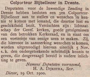 Uit 'De Heraut', 28 oktober 1900. J. Dekker reageerde hier ook op en werd benoemd.