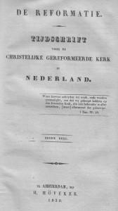 'De Reformatie', het landelijke tijdschrift van de Afgescheidenen in de negentiende eeuw.