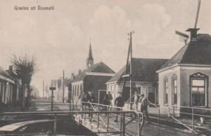 Een oude ansicht met de hervormde kerk uit 1848, die in 1958 afgebroken werd.