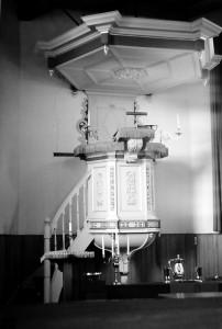 De preekstoel in de hervormde kerk van Oosterend.
