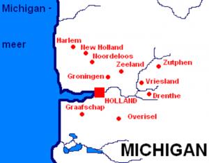 Een kaartje van het gebied rond Holland, Michigan.