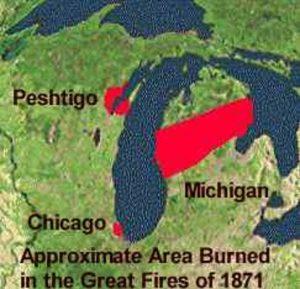 Een kaartje van Michigan met het gebied waar in 1871 de grootste branden plaatsvonden.