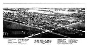 Een overzicht van het dorp Zeeland in 1880.