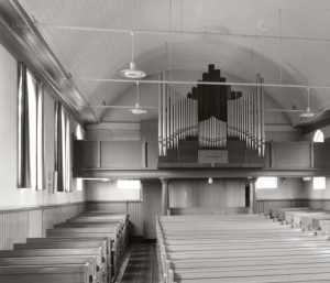 Het interieur van de gereformeerde kerk te Gasselternijveen.
