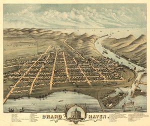 Grand Haven in 1874, met uitzicht op zee...
