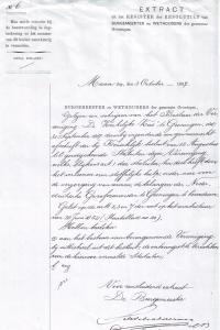 Het gemeentebestuur verklaarde op 3 oktober 1887 de Statuten van de Kerkelijke Kas te hebben ontvangfen en het besluit van goedkeuringc van de M<inister te hebben gelezen. Zoinbder de Kerkelijke Kas kon de kerkenraad geen kerk bouwen...