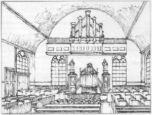 Het ineterieur van de Havenstraastkerk (ill.:'Herinneringen...').