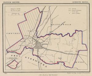 Kaart van Meppel rond 1870 (J. Kuijper).