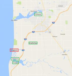 Kaart van de omgeving van Singapore (Michigan).