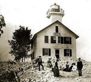 De in 1859 gebouwde vuurtoren langs de Kalamazoo river.