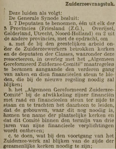 De belakngrijkste beslujiten van de generale synode 1930 inzake de Zuiderzeewerken.