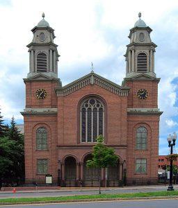 The Dutch First Reformed Church in Albany, waar tot 1873 de kerkdiensten gehouden werden.