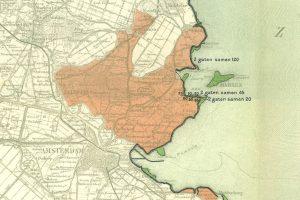 Kaartje van het overstroomde gebied in 1916.