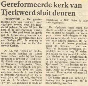 Niet alleen de instituering, maar ook de sluiting van de kerk werd in de pers gemeld.